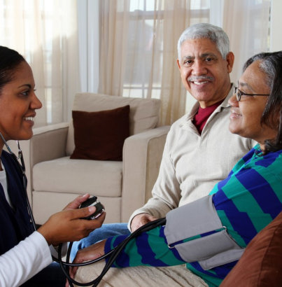 elder couple and their private nurse