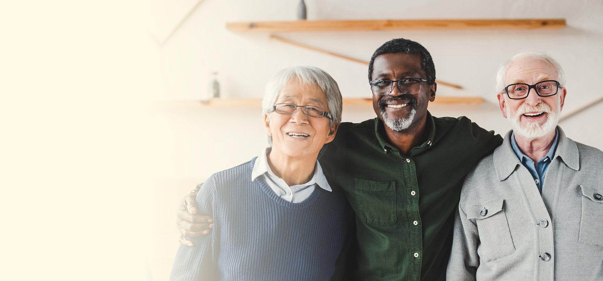 elderly men smiling