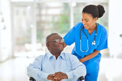 senior man and his nurse